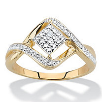 Diamond Accent Cluster Bypass Ring 14k Gold-Plated