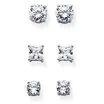 Round and Princess-Cut Cubic Zirconia 3-Pair Set of Stud Earrings 9.20 TCW in Sterling Silver