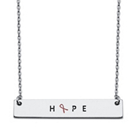 "Breast Cancer ""Hope"" Inscribed Horizontal Bar Pendant Necklace ONLY $14.99"