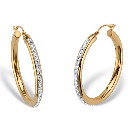 """Round Crystal 14k Nano Diamond Resin Filled Hollow Oval Hoop Earrings 1"""" at PalmBeach Jewelry"""