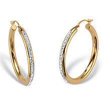 Round Crystal 14k Nano Diamond Resin Filled Hollow Oval Hoop Earrings 1""