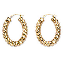 "14k Gold Shrimp-Style Hoop Earrings Nano Diamond Resin Filled (1"")"
