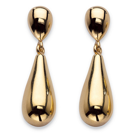 "14k Yellow Gold Nano Diamond Resin Filled Teardrop Earrings 1.25"" at PalmBeach Jewelry"