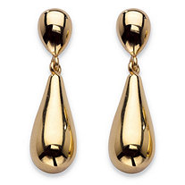 14k Yellow Gold Nano Diamond Resin Filled Teardrop Earrings 1.25