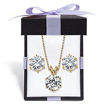 Round Cubic Zirconia 2-Piece Solitaire Stud Earrings and Necklace Set 7 TCW in 14k Gold over Sterling Silver with FREE Gift Box 18""