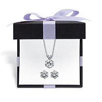 Round Cubic Zirconia 2-Piece Solitaire Stud Earrings and Necklace Set 7 TCW in Platinum over Sterling Silver with FREE Gift Box 18""