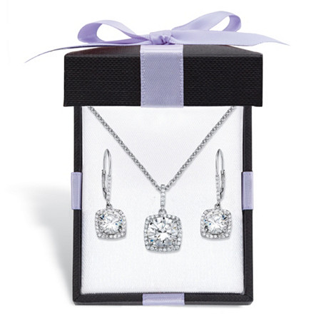 """Round Cubic Zirconia 3-Piece Halo Earrings and Necklace Set 10.84 TCW in Platinum over Sterling Silver With FREE Gift Box 18""""-20"""" at PalmBeach Jewelry"""