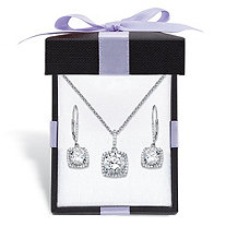 "Round Cubic Zirconia 3-Piece Halo Earrings and Necklace Set 10.84 TCW in Platinum over Sterling Silver With FREE Gift Box 18""-20"""