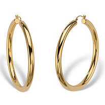 "14k Yellow Gold Nano Diamond Resin Filled Hoop Earrings (1 7/8"")"