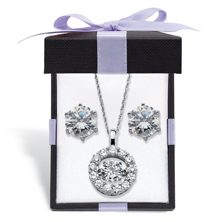 """Cubic Zirconia CZ in Motion Stud Earrings and Pendant Necklace Set 5.76 TCW in Platinum over Sterling Silver With FREE Gift Box 18""""-20"""" at PalmBeach Jewelry"""