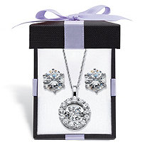 "Cubic Zirconia CZ in Motion Stud Earrings and Pendant Necklace Set 5.76 TCW in Platinum over Sterling Silver With FREE Gift Box 18""-20"""