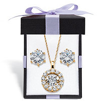 "Round ""CZ in Motion"" Cubic Zirconia Stud Earrings and Pendant Necklace 5.76 TCW in 14k Gold over Sterling Silver 18""-20"""