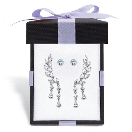 Marquise-Cut and Round Cubic Zirconia 2-Pair Stud Earrings and Ear Climber Gift Set 3.96 TCW in Silvertone With FREE Gift Box at PalmBeach Jewelry