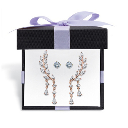 Crystal Ear Climber and Cubic Zirconia Stud 2-Pair Earring Set 1 TCW in Yellow Gold Tone With FREE Gift Box at PalmBeach Jewelry
