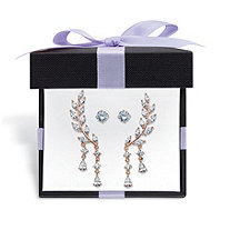 Crystal Ear Climber and Cubic Zirconia Stud 2-Pair Earring Set 1 TCW in Yellow Gold Tone With FREE Gift Box