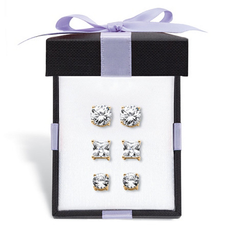 Round and Princess-Cut Cubic Zirconia 3-Pair Stud Earring Gift Set 9.20 TCW in 14k Gold over Sterling Silver With FREE Gift Box at PalmBeach Jewelry
