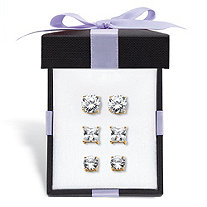 Round and Princess-Cut Cubic Zirconia 3-Pair Stud Earring Gift Set 9.20 TCW in 14k Gold over Sterling Silver With FREE Gift Box