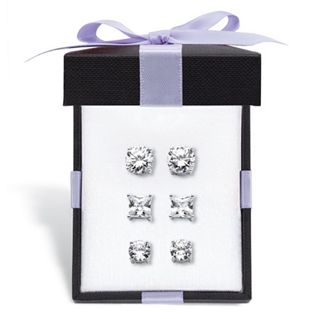 Round and Princess-Cut Cubic Zirconia 3-Pair Stud Earring Gift Set 9.20 TCW in Sterling Silver With FREE Gift Box at PalmBeach Jewelry