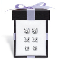 Cubic Zirconia 3-Pair Stud Earring Gift Set 9.20 TCW In Sterling Silver
