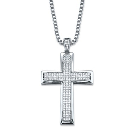 Round Cubic Zirconia Cross Pendant Necklace .65 TCW in SIlvertone 20