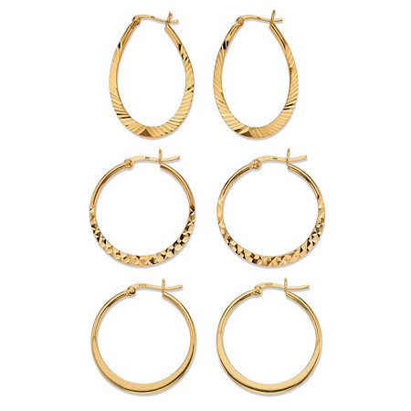 Diamond-Cut 3-Pair Set of Hoop Earrings in 18k Gold over Sterling Silver 1
