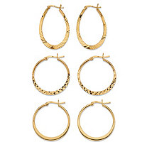 Diamond-Cut 3-Pair Set of Hoop Earrings in 18k Gold over Sterling Silver 1""