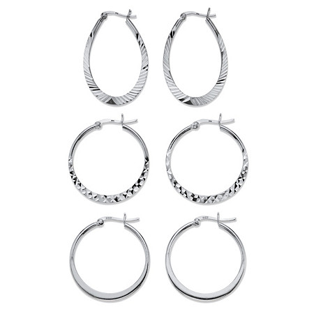 "Diamond-Cut 3-Pair Set of Hoop Earrings in Sterling Silver 1"" at PalmBeach Jewelry"
