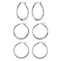Diamond-Cut 3-Pair Set of Hoop Earrings in Sterling Silver 1""