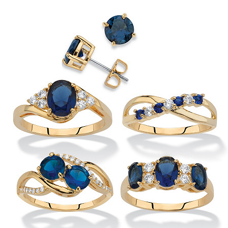 Round and Oval-Cut Simulated Blue Sapphire and Cubic Zirconia 5-Piece Stud Earrings and Ring Set 19.13 TCW 14k Gold-Plated at PalmBeach Jewelry