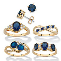 Round and Oval-Cut Simulated Blue Sapphire and Cubic Zirconia 5-Piece Stud Earrings and Ring Set 19.13 TCW 14k Gold-Plated