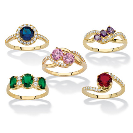 Round and Oval-Cut Simulated Gemstone and Cubic Zirconia 5-Piece Ring Set 7.83 TCW 14k Gold-Plated at PalmBeach Jewelry