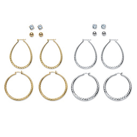 "Diamond-Cut and Textured 8-Pair Set of Stud and Hoop Earrings 8 TCW in Silvertone and Gold Tone 1.5"" at PalmBeach Jewelry"