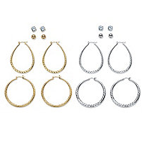 Diamond-Cut and Textured 8-Pair Set of Stud and Hoop Earrings in Silvertone and Gold Tone 1.5