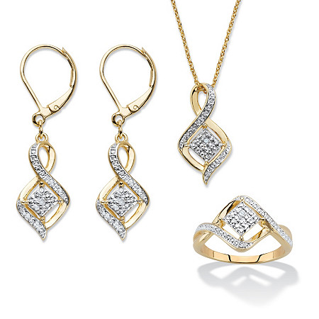 Diamond Accent Cluster Bypass 3-Piece Earrings, Ring and Necklace Set 14k Gold-Plated 18