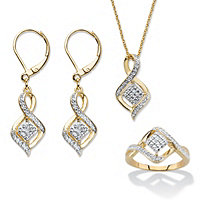 "Diamond Accent Cluster Bypass 3-Piece Earrings, Ring and Necklace Set 14k Gold-Plated 18""-20"""