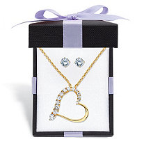 "Cubic Zirconia Stud Earrings and Heart-Shaped Pendant Necklace Set 1.88 TCW in 14k Gold over Sterling Silver With FREE Gift Box 18""-20"""
