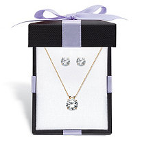 Round Cubic Zirconia Solitaire Stud Earrings and Pendant Necklace 3.96 TCW in Solid 10k Yellow Gold 18""