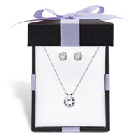 Round CZ Solitaire Stud Earrings And Pendant Necklace 3.96 TCW In Solid 10k White Gold