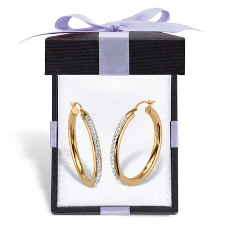 "Crystal Accent 14k Gold Nano Diamond Resin Filled Hoop Earrings With FREE Gift Box 1.25"" at PalmBeach Jewelry"
