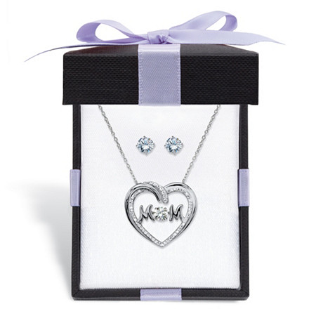 """Round Cubic Zirconia Stud Earrings and CZ in Motion MOM Necklace Gift Set 1.79 TCW in Sterling Silver With FREE Gift Box 18"""" at PalmBeach Jewelry"""