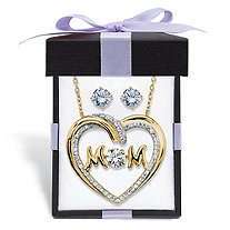 Round Cubic Zirconia Stud Earrings and CZ in Motion MOM Necklace Gift Set 1.79 TCW in 14k Gold over Sterling Silver With FREE Gift Box 18""