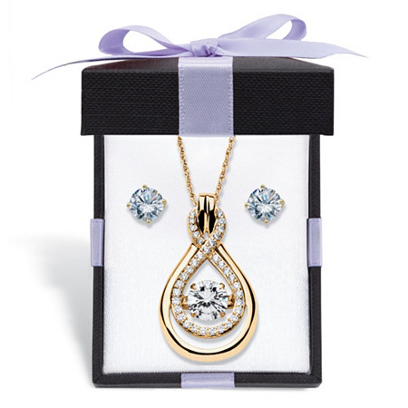 Cubic Zirconia Stud Earrings and CZ in Motion Looped Necklace Set 2.24 TCW in 14k Gold over Sterling Silver With FREE Gift Box 18