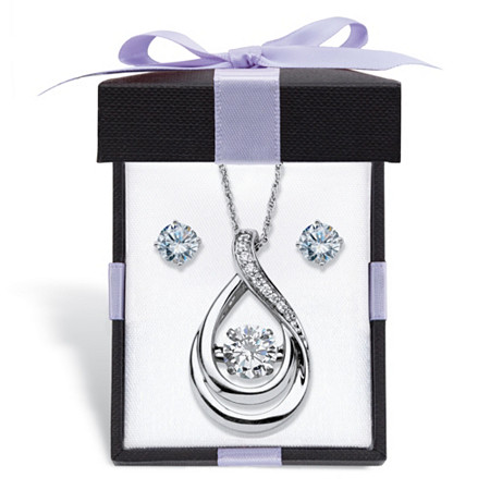"Cubic Zirconia Stud Earrings and CZ in Motion Looped Necklace Set 2.06 TCW in Platinum over Sterling Silver With FREE Gift Box 18"" at PalmBeach Jewelry"