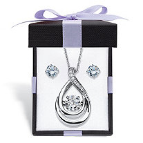 Cubic Zirconia Stud Earrings and CZ in Motion Looped Necklace Set 2.06 TCW in Platinum over Sterling Silver With FREE Gift Box 18