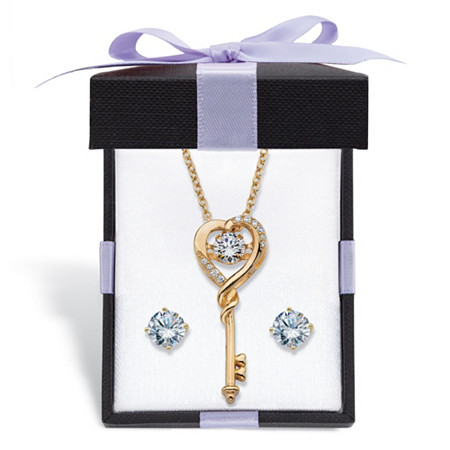 "Round CZ in Motion Cubic Zirconia 2-Piece Stud Earrings and Heart Key Necklace Set 1.60 TCW in 14k Gold over Silver With FREE Gift Box 18"" at PalmBeach Jewelry"