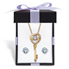 Related Item Round CZ in Motion Cubic Zirconia 2-Piece Stud Earrings and Heart Key Necklace Set 1.60 TCW in 14k Gold over Silver With FREE Gift Box 18