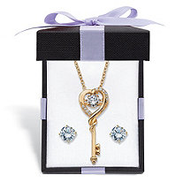 Round CZ in Motion Cubic Zirconia 2-Piece Stud Earrings and Heart Key Necklace Set 1.60 TCW in 14k Gold over Silver With FREE Gift Box 18""
