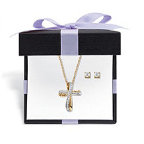 "Diamond Accent 2-Piece Stud Earrings and Cross Necklace Set 14k Gold-Plated With FREE Gift Box 18""-20"""