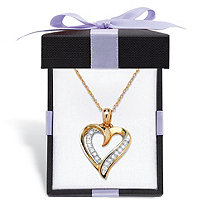Round Diamond Open Heart-Shaped Pendant Necklace 1/10 TCW in 10k Yellow Gold With FREE Gift Box 18""