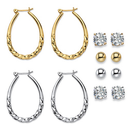 """Cubic Zirconia 6-Pair Set of Stud and Twisted Hoop Earrings 8 TCW in Gold Tone and Silvertone 1"""" at PalmBeach Jewelry"""